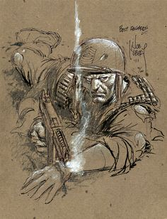A wonderfully loose drawing--you can see the character emerging out of Kubert's lines.  -E.N.
