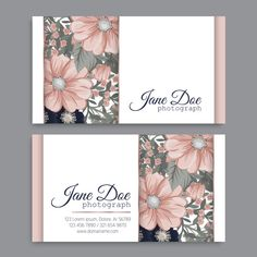 Business Card Template With Beautiful Flowers Start Up Business, Business Cards, Lashes Logo, Graphic Projects, Pattern Flower, Flower Doodles, Vector Background, Lorem Ipsum, Wedding Colors