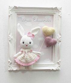 A personalized gift for the birth of a child girl or wedding a beautiful souvenir room decoration – Artofit Easter Crochet, Crochet Bunny, Crochet Dolls, Box Frame Art, Owl Crochet Patterns, Crochet Cushions, Frame Crafts, Crochet Gifts, Amigurumi Doll