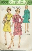 An original ca. 1971 Simplicity Pattern 9501.  Dress in Two Lengths and Sash: The dress with front loop and button closing has raglan sleeves and collar. Regular length, View 1, has self fabric sash. Views 1 and 2: long sleeves gathered to cuffs with loops and buttons. Views 2 and 3: mini-length. View 3: short sleeves, purchased belt.