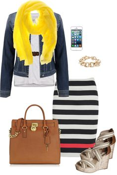 Yellow scarf with a black & white  striped skirt with 1 red stripe (low key color block)