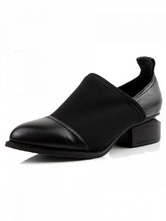Shop Retro Neutral Leather Elastic Cloth Notched Heel Pointed Shoes from choies.com .Free shipping Worldwide.$89.9