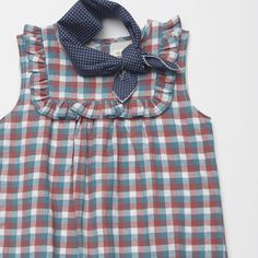 Olive Juice Spring 2016 Tilly Plaid Juliet Dress and Navy Polka Dot Kerchief.