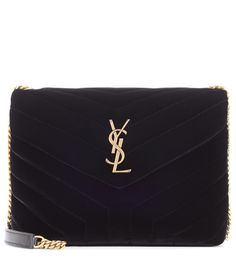 Saint Laurent - Loulou Monogram Small velvet shoulder bag - Opt for an accessories icon with Saint Laurent's Loulou Small shoulder bag. Crafted in Italy from plush black velvet, this style is quilted in the shape of a Y and adorned with label's timeless YSL logo as a nod to the brand's heritage. Take yours into the evening with a miniskirt and pumps. seen @ www.mytheresa.com