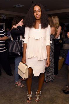 white dress + white purse + black and white heels