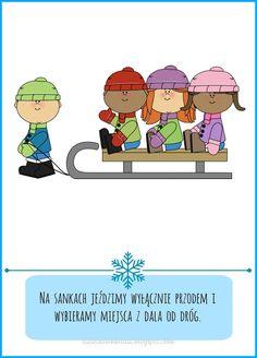 Dzieckiem bądź: Bezpieczna zima - zasady dla dzieci do pobrania Drawing Lessons, Diy And Crafts, Preschool, Clip Art, Comics, Winter, Ideas, Winter Time, Drawing Classes