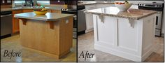Builder basic island redo - LOVE!  I see free cabinet every day on Craigslist...
