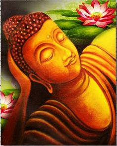 ArtsNyou - Gautam Buddha Taking Rest Painting Oil Pastel Paintings, Modern Art Paintings, Indian Paintings, Buddha Kunst, Buddha Zen, Buddha Face, Sketch Painting, Mural Painting, Fabric Painting