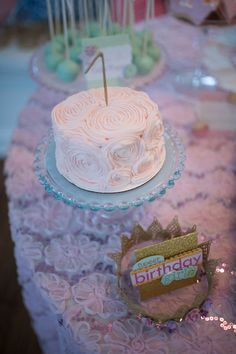 Smash cake at a Let Them Eat Cake Birthday Party!  See more party ideas at CatchMyParty.com!