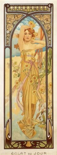 Alphonse Mucha The Times Of Day Brightness Of Day, , . Read more about the symbolism and interpretation of The Times Of Day Brightness Of Day by Alphonse Mucha. Art Nouveau Pintura, Mucha Art Nouveau, Alphonse Mucha Art, Art Nouveau Poster, Mucha Artist, Vintage Posters, Vintage Art, Art Posters, Food Posters