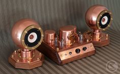 The Steam Amp II with the Boiler Ball Speakers - 8-Watt Tube Amplifier by #CopperSteam