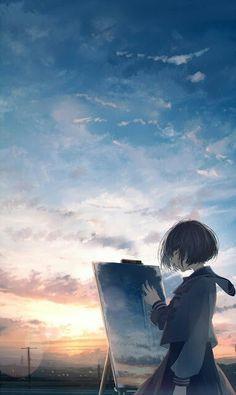 Girls Sky Wallpapers Animegirl Animekawaii Kawaii Sky Wallpapers Girl Kurdishotaku أنمي خلفيات Disney Art Drawings Kids Canvas Art Anime Wallpaper