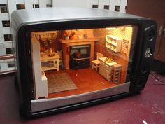 Kitchen inside an Oven - All About Balcony Vitrine Miniature, Miniature Rooms, Miniature Kitchen, Miniature Crafts, Miniature Houses, All The Small Things, Mini Things, Small Stuff, Diy Dollhouse