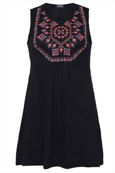 Black Jersey Tunic With Caviar Beaded Abstract Print Detail