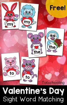 FREE printable sight word matching cards for pre-k and kindergarten kids to practice reading and memorizing sight words. Match up the adorable Valentine's Day animals!