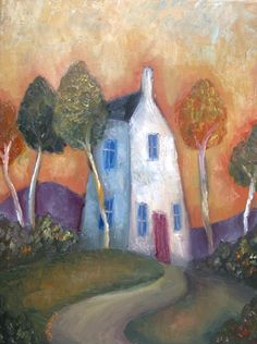 Tall Cottage and trees by Jeremy Mayes Buildings Artwork, Naive Art, Pics Art, Whimsical Art, Painting Inspiration, Landscape Paintings, Landscapes, Painting & Drawing, Folk Art