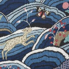 Schumacher Rolling Hills Fabric (Set of Color: Blue Applique Fabric, Ikat Fabric, Cotton Fabric, Blue Fabric, Blue Pillow Covers, Blue Pillows, Geometric Wallpaper, Wallpaper Roll, Sherman Williams