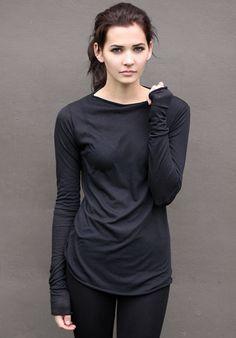 Black Long Sleeve Top handmade semisheer by DoTheExtraordinary, $49.00