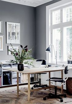 Find the best idea to create a home office for two. Sharing a home office sounds in imitation of a good idea at first glance. It saves going on profusion of sky and instead of having to create two every other rooms. Mesa Home Office, Home Office Space, Home Office Design, Home Office Decor, Home Decor, Office Ideas, Office Furniture, Office Rug, Gothic Furniture