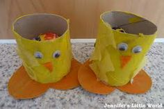 Yellow paint, any cardboard cylinder,  googly eyes, orange card and a few yellow feathers if you have them.  This makes very cute little Easter container.
