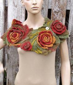 Crochet Scarf Woman Bridal fashion Gift Crochet button scarf Schadows green orange brown Woman's Shawl Cape Neck Warmer Freeform crochet