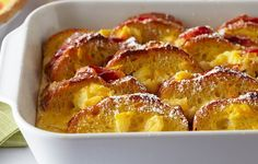 Make Ahead Stuffed French Toast A delicious custardy dish for special family occasions. Make this tasty oven-baked French toast ahead for easy entertaining. Oven Baked French Toast, Make Ahead French Toast, Homemade French Toast, French Toast Bake, Egg Recipes, Brunch Recipes, Breakfast Recipes, Breakfast Ideas, Brunch Food