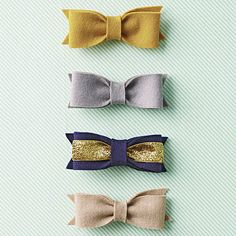 """Hair Bow Ties - For those extra glam friends and fam, craft a batch of swanky bow ties. You will need:   1-3/8 x 7-1/2"""" wool felt strip,  1-3/x 84"""" wool felt strip,   1-5/8x2-1/2"""" wool felt rectangle  7 x 3/4"""" glitter ribbon (optional), Hot-glue gun and glue sticks, Metal alligator hair clip...."""