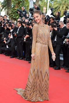 """Hungarian model Barbara Palvin arrives wearing Valentino for the photocall of """"Lawless"""" presented in competition at the 65th Cannes film festival on May 19, 2012, in Cannes."""