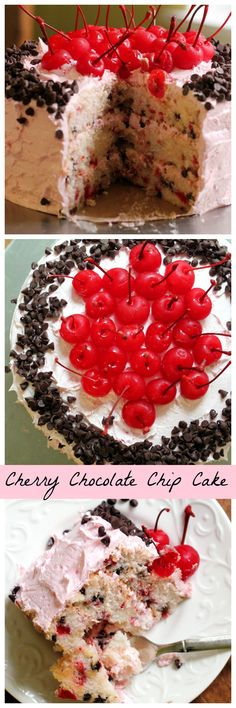 Cherry chocolate chip cake is a fluffy white triple layer cake stuffed with the decadence of chocolate covered cherries – perfect for Valentine's Day!