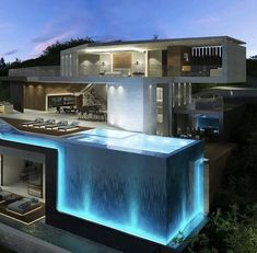 142 stunning modern dream house exterior design ideas-page 4 Dream Home Design, Modern House Design, Cool House Designs, Pool Designs, Luxury Pools, Modern Mansion, Modern Houses, Cool Houses, Big Houses