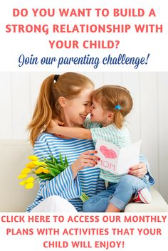 Do you want to build a wonderful relationship with your child? Join our parenting challenge and make it happen! :) You will have access to 12 months of nice activities to help you connect with your child, play and learn while having fun, and most of all build wonderful memories together! Also, you will receive the Parent's Handbook to guide you through creating your own plan for the challenge! Get all the details and start this today! | Parenting challenge | Activities for young...