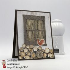 Rooster in the wood pile on this card for a friend, using Wood Textures Suite by Stampin' Up! Wood Words stamp set, Wood Crate Framelits, Hearth & Home Thinlits, 5/8