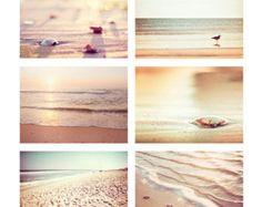 Coastal Photography, Set of Six Beach Photos, Beige Wall Art, Pale Cream Seashore Decor, Ocean Print Seashore Decor, Beach Office, Beach Themes, Beach Decorations, Beach Color, Coastal Farmhouse, Beige Walls, Beach Photography, Beach House Decor