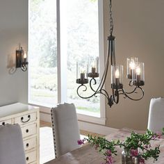 Shop Kichler Lighting Diana 25-in 5-Light Olde Bronze Williamsburg Clear Glass Candle Chandelier at Lowes.com