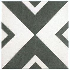 Merola Tile Twenties Vertex 7-3/4 in. x 7-3/4 in. Ceramic Floor and Wall Tile, Black And White/Low Sheen