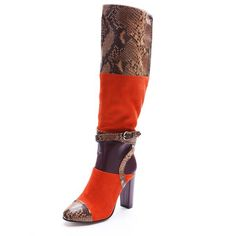 Snakeskin mixed-color buckle fashion long boots