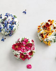 "When you have a bunch of edible blossoms, let their vibrant colors do the work for you. Simply mix chopped flowers (petals and leaves) into softened goat cheese, then shape into rounds and pat more flowers on top. Any edible flower will work; peppery nasturtium, borage, and pansy are shown here. This recipe appears in our cookbook, ""Martha Stewart's Vegetables"" (Clarkson Potter)."