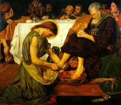 Jesus Washing Peter's Feet 1852-6 by Ford Madox Brown  This picture caused an outcry when it was first exhibited, and critics objected to its coarseness – Brown originally depicted Jesus only semi-clad. It remained unsold for several years until Brown reworked the figure in robes. Though Brown was never invited to join the Pre-Raphaelite Brotherhood he was a close associate of the group and several members modelled for the disciples.