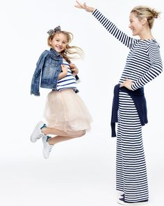 J.Crew girls' washed denim jacket, nautical striped pocket T-shirt, tulle skirt, jeweled bow headband and kids' Adidas® Stan Smith™ sneakers. J.Crew women's long-sleeve striped maxi dress.