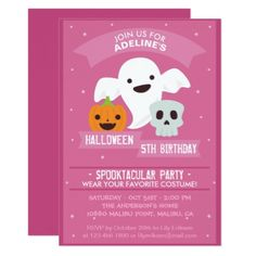 Girl's Halloween Birthday Party Invitation - birthday diy gift present custom ideas