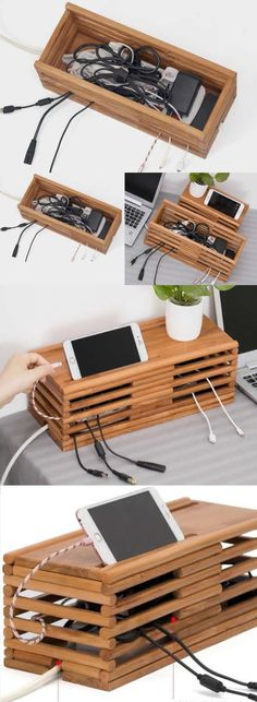 Bamboo Wooden Charge Cable Organizer iPad Cell Phone Charging Station Dock Holder Cable Cord Organizer CableBox Wire Storage Cable Management System Case is part of Cable storage - Wood Projects, Woodworking Projects, Woodworking Plans, Woodworking Shop, Woodworking Beginner, Woodworking Workshop, Cable Management Box, Wood Chargers, Phone Chargers