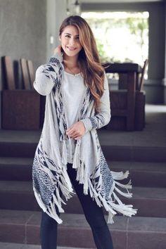 Womens Grey Aztec Cardigan<BR>Now in Stock