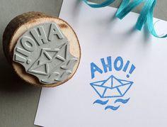 Sprüche & Slogans - Ahoi! Stempel Papierboot - ein Designerstück von DasRotkehlchen bei DaWanda