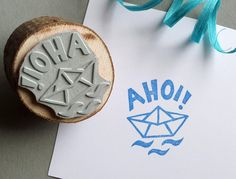 Maritimer Stempel mit Ahoi und Papierboot / maritime stamp with quote and paper boat made by Rotkehlchen via DaWanda.com
