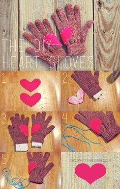 """OH SO PRETTY the DIARIES: The DIY Heart Gloves (Could also do this with the BYU """"Y"""" ... )"""