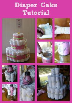 Easy to follow diaper cake tutorial for a baby shower + printables