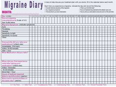 A daily migraine diary is a great asset to use. It can help you ...