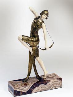 """A bronze and ivory by Joe Descomps """"Danseuse à l'arc """", France circa 1925."""