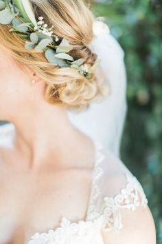 eucalyptus crown - photo by Mallory Dawn Photography http://ruffledblog.com/high-school-sweetheart-wedding-in-california