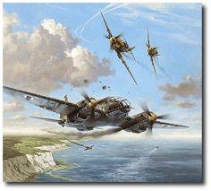 AVIATION ART HANGAR - Narrow Escape by Heinz Krebs (He111, Me109)